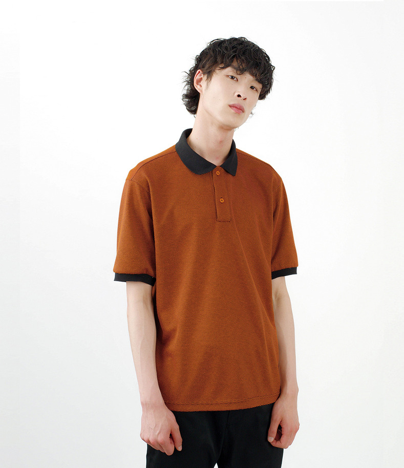 [16 s/s Go on a Trip]Stripe half-sleeve shirt(ORANGE)