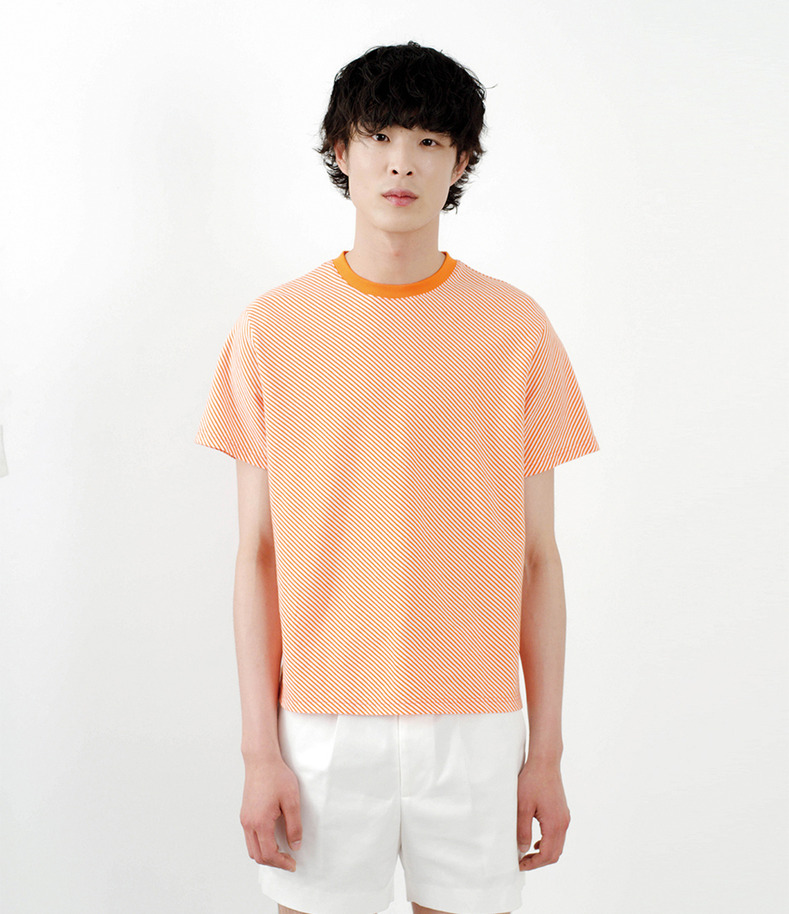 [16 s/s Go on a Trip]Orange Stripe half-sleeve shirt