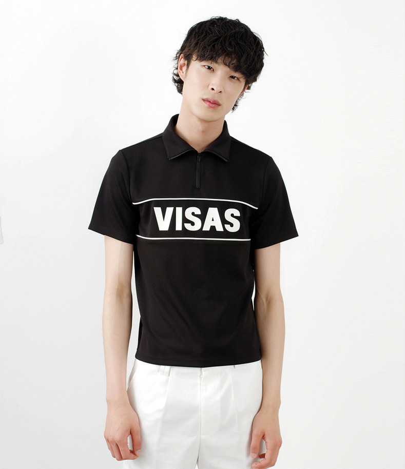 [16 s/s Go on a Trip]VISAS zipper half-sleeve shirt(BLACK)
