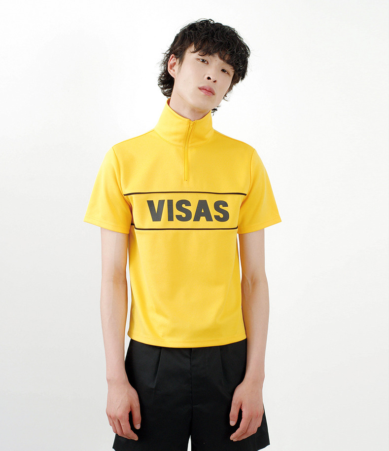 [16 s/s Go on a Trip]VISAS zipper half-sleeve shirt(YELLOW)