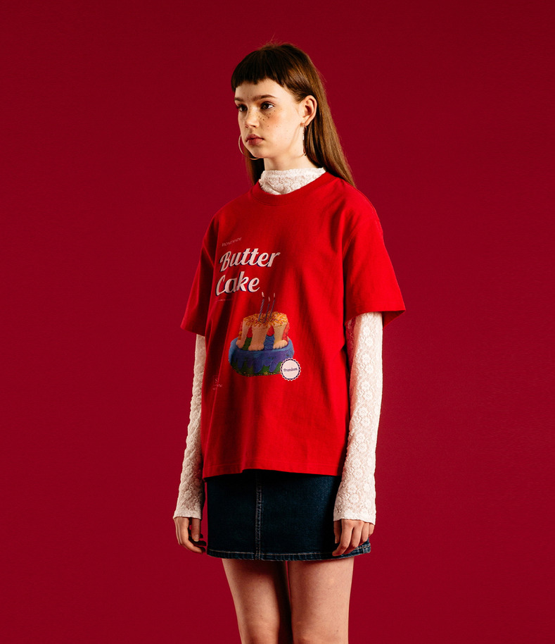 [16 Summer Collection]Cake half t shirts(Red)