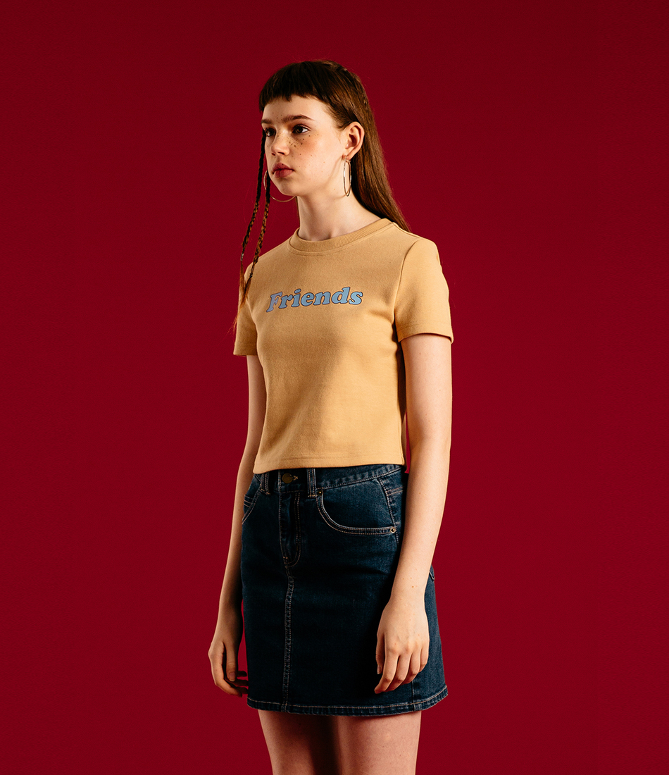 [16 Summer Collection]Friends crop half t shirts(Camel)