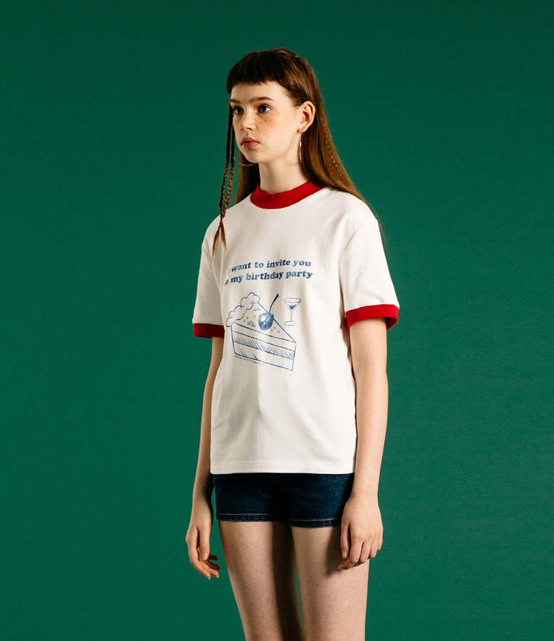 [16 Summer Collection]Cake sports t shirts(White)