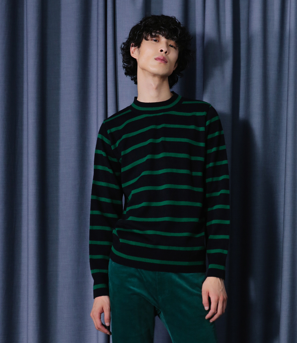 [16 f/w serene]Stripe Knit(Green)