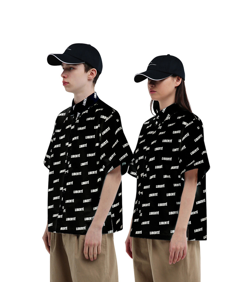 "[17s/s ""Liberté""]Pattern Short Sleeve Shirt(Black)"