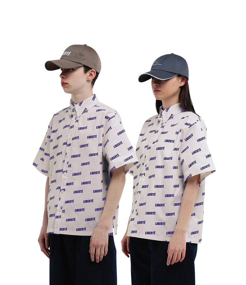 "[17s/s ""Liberté""]Pattern Short Sleeve Shirt(Ivory)"