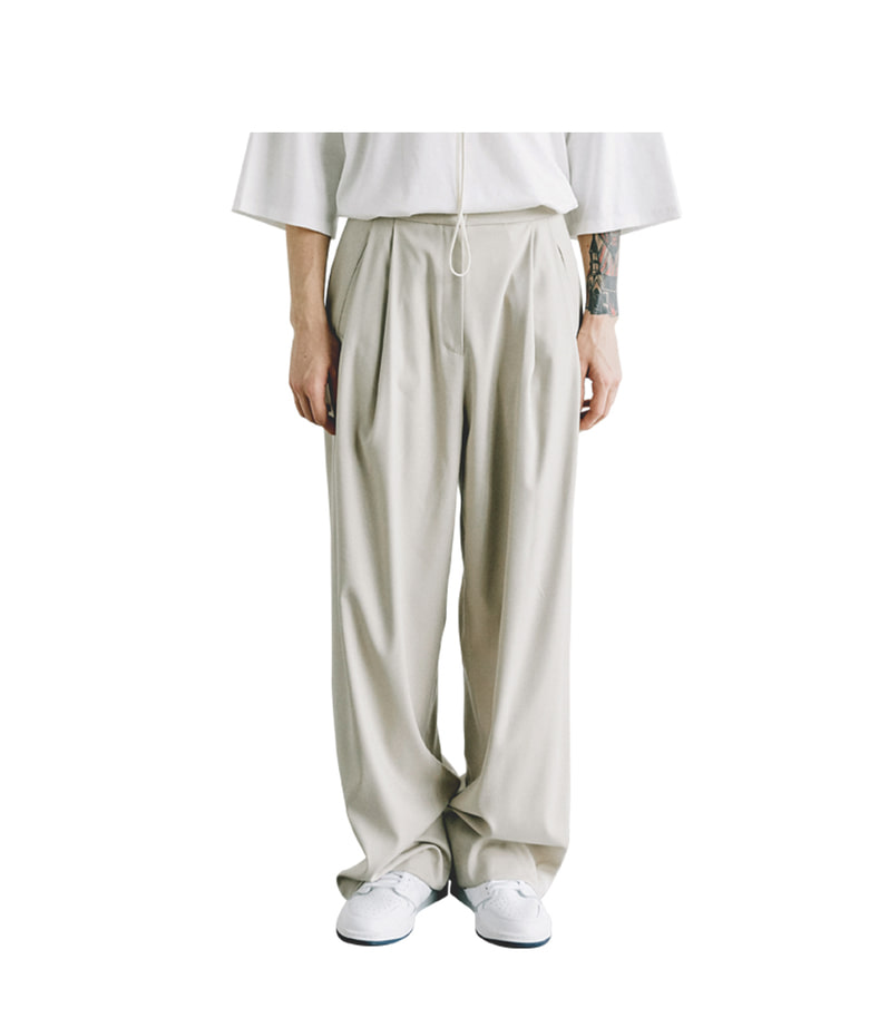 Two Tuck Wide Pants(Ivory)