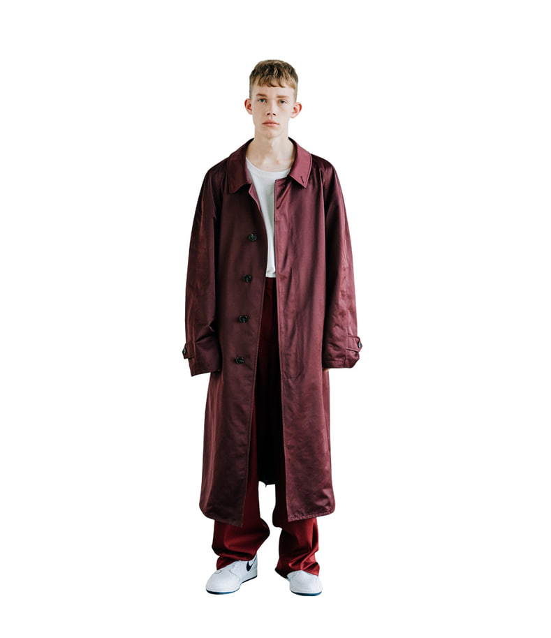 Single Breasted Trench Coat(Burgundy)