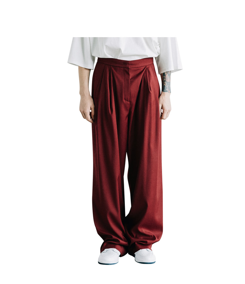 Two Tuck Wide Pants(Burgundy)
