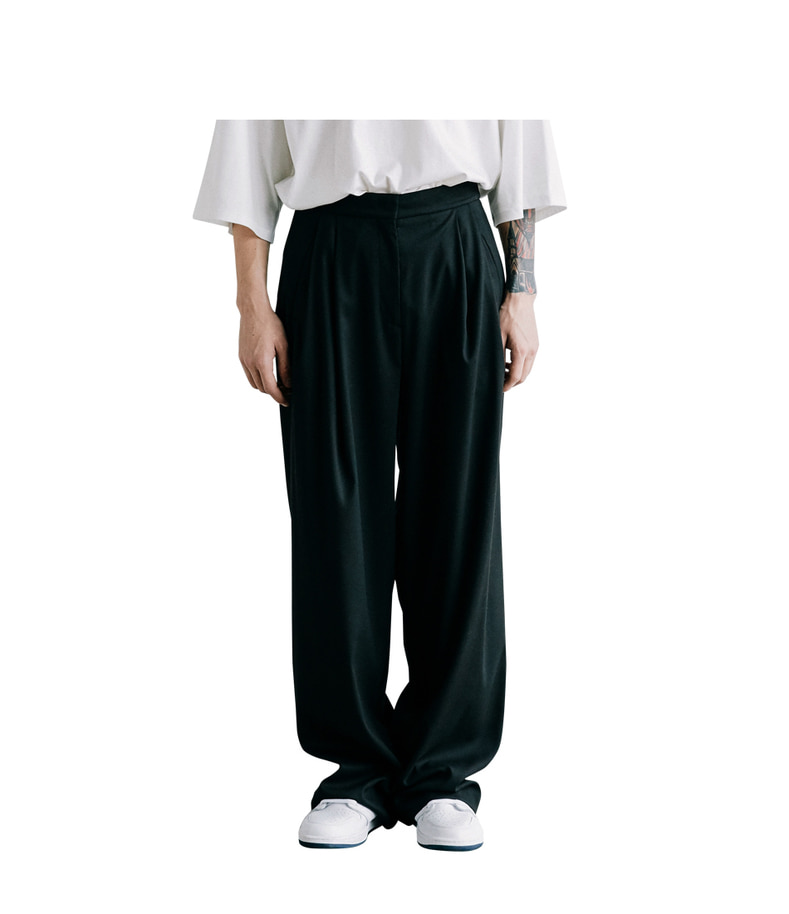 Two Tuck Wide Pants(Black)
