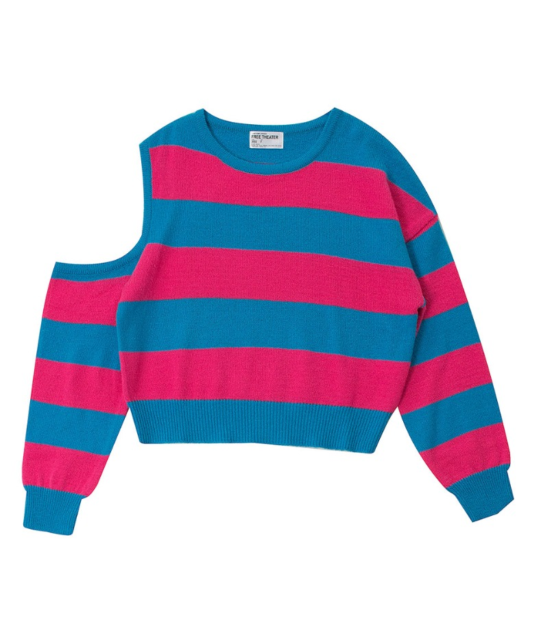 PINK AND BLUE STRIPED KNIT SWEATER