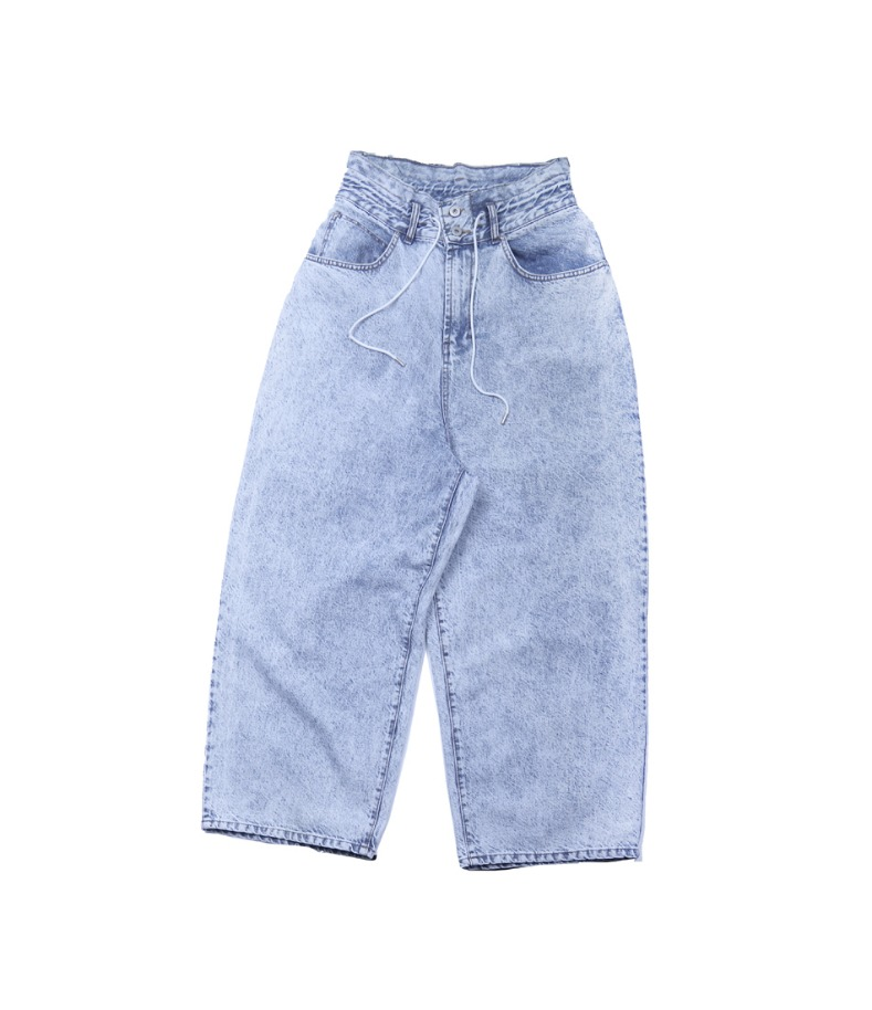 STONE WASHED COTTON WIDE JEANS