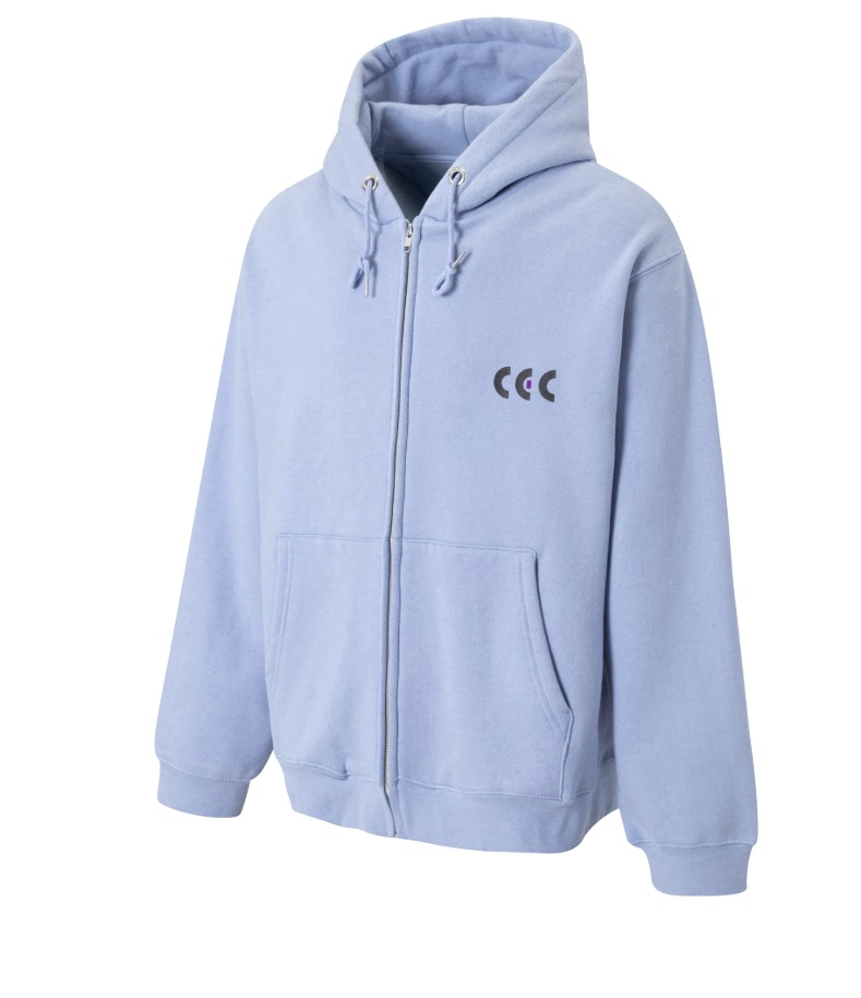 BLACK & PURPLE CEC ZIP-UP HOODIE(SKY BLUE/기모)