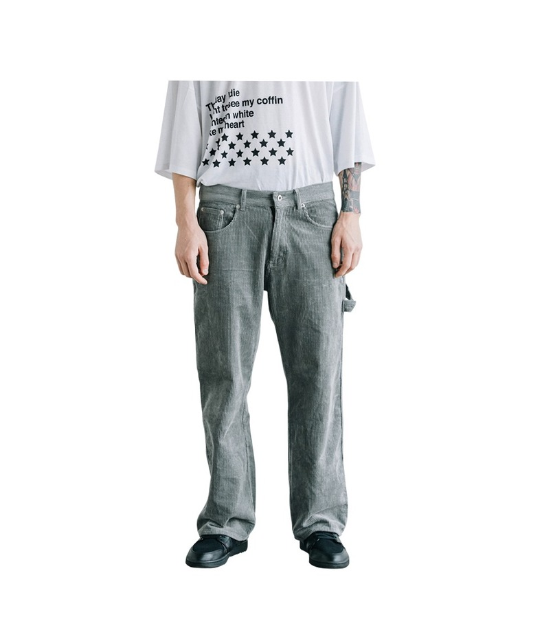 Strap Corduroy Pants(Gray)