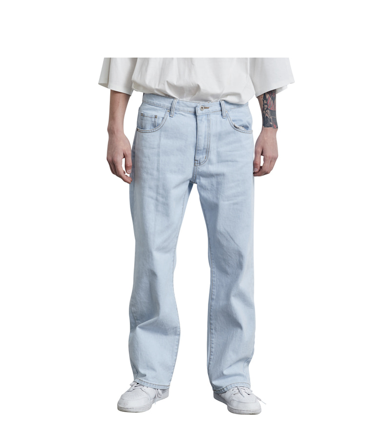 Straight Denim Pants(Light Blue)