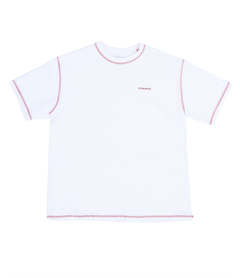 CONTRAST STITCH T-SHIRT(WHITE)