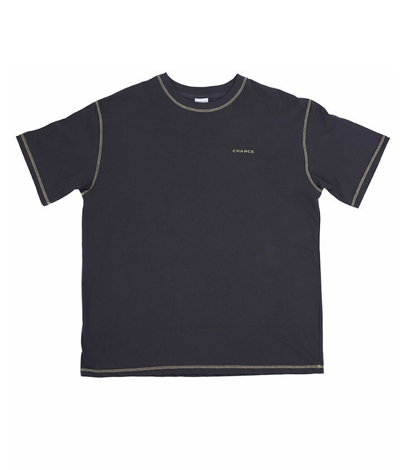 CONTRAST STITCH T-SHIRT(CHARCOAL)