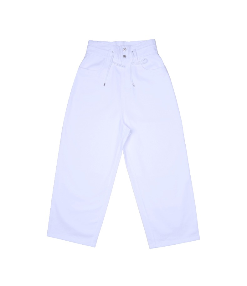 WHITE COTTON WIDE PANTS