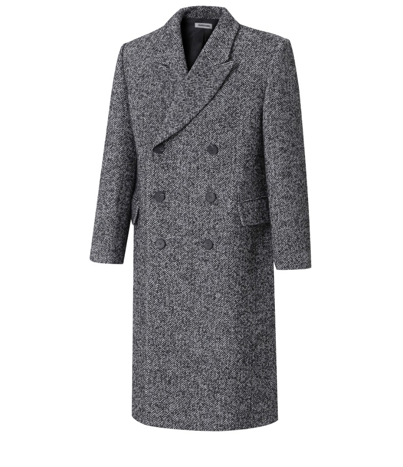 GRAY WOOL HERRINGBONE COAT