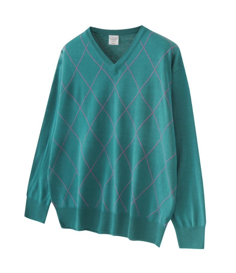 ARGYLE KNIT SWEATER(GREEN)