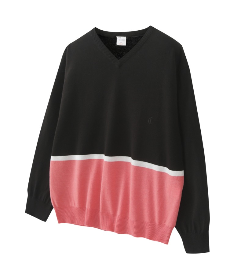 BLACK AND PINK BLOCK SWEATER